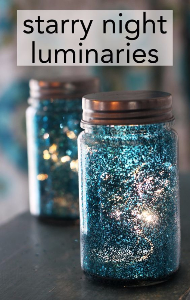 DIY Christmas Luminaries and Home Decor for The Holidays - Starry Night Inspired Luminaries - Cool Candle Holders, Tea Lights, Holiday Gift Ideas, Christmas Crafts for Kids #diy #luminaries #christmas
