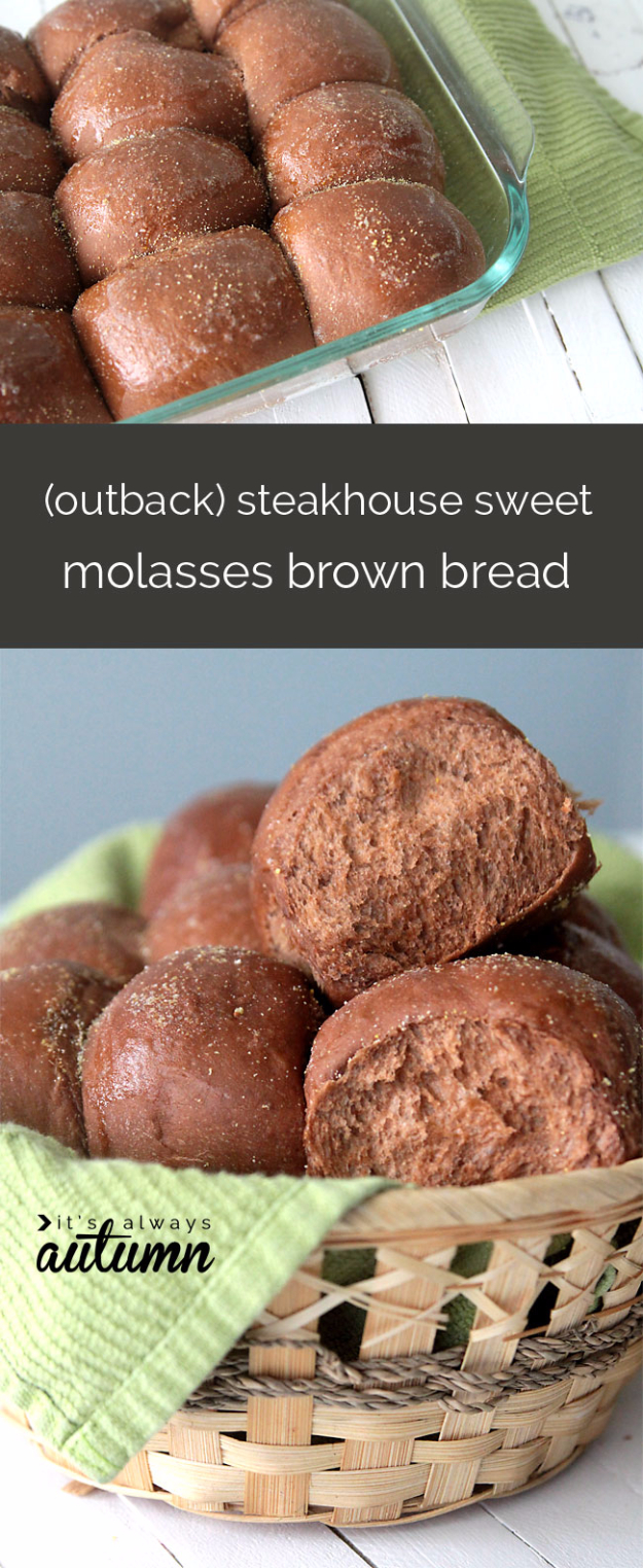 Best Copycat Recipes From Top Restaurants - Steakhouse Sweet Brown Molasses Bread - Awesome Recipe Knockoffs and Recipe Ideas from Chipotle Restaurant, Starbucks, Olive Garden, Cinabbon, Cracker Barrel, Taco Bell, Cheesecake Factory, KFC, Mc Donalds, Red Lobster, Panda Express #recipes #copycat #dinnerideas