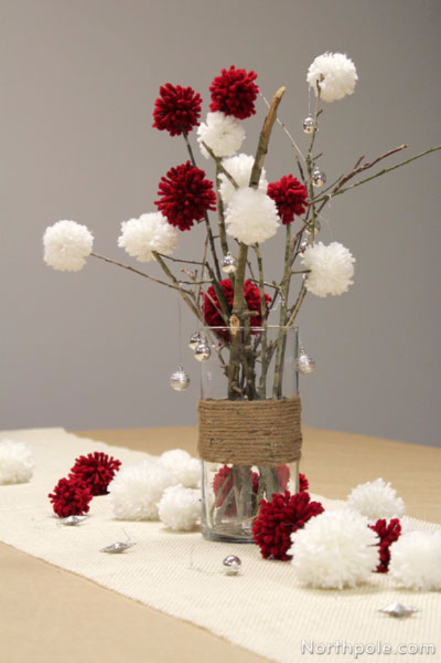 DIY Christmas Centerpieces - Sticks And Pom Poms Centerpiece - Simple, Easy Holiday Decorating Ideas on A Budget- cheap dollar store crafts holiday #holiday #crafts #christmas