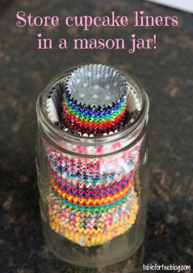 Best Baking Hacks - Store Cupcake Liners In Mason Jar - DIY Cooking Tips and Tricks for Baking Recipes - Quick Ways to Bake Cake, Cupcakes, Desserts and Cookies - Kitchen Lifehacks for Bakers