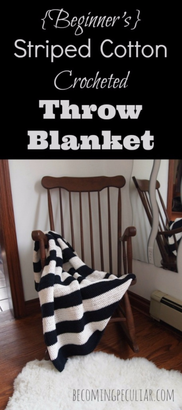 DIY Blankets and Throws - Striped cotton Crocheted Throw Blanket - How To Make Easy Home Decor and Warm Covers for Women, Kids, Teens and Adults - Fleece, Knit, No Sew and Easy Projects to Make for Bed and Sofa - Creative Blanket Sewing Projects and Crafts http://diyjoy.com/diy-blankets-throws