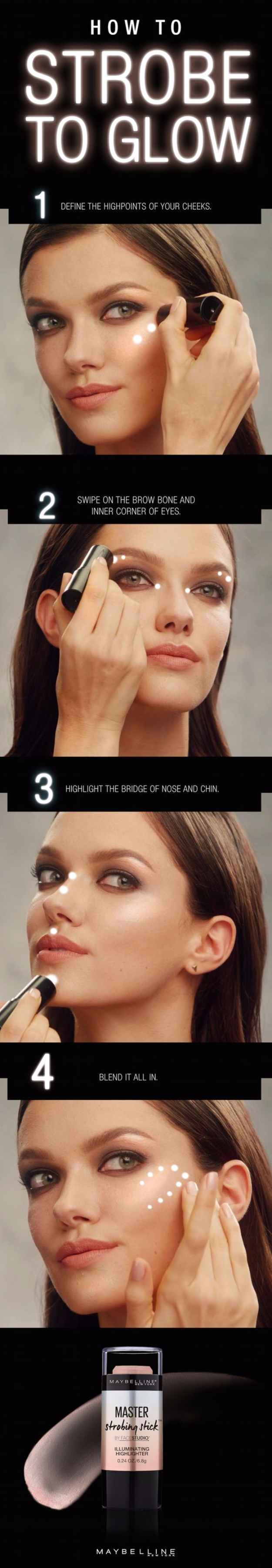 Cool DIY Makeup Hacks for Quick and Easy Beauty Ideas - Strobe To Glow - How To Fix Broken Makeup, Tips and Tricks for Mascara and Eye Liner, Lipstick and Foundation Tutorials - Fast Do It Yourself Beauty Projects for Women