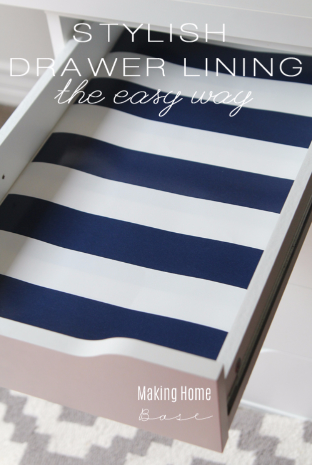 Cool Things to Make With Leftover Wrapping Paper - Stylish Drawer Liners - Easy Crafts, Fun DIY Projects, Gifts and DIY Home Decor Ideas - Don't Trash The Christmas Wrapping Paper and Learn How To Make These Awesome Ideas Instead - Step by Step Tutorials With Instructions http://diyjoy.com/diy-projects-leftover-wrapping-paper