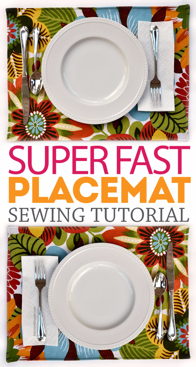DIY Sewing Projects for the Kitchen - Super Fast Placemat - Easy Sewing Tutorials and Patterns for Towels, napkinds, aprons and cool Christmas gifts for friends and family - Rustic, Modern and Creative Home Decor Ideas http://diyjoy.com/diy-sewing-projects-kitchen