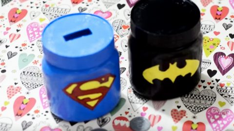She Makes Super Hero's Mason Jar Piggy Banks That Kids Will Love! | DIY Joy Projects and Crafts Ideas