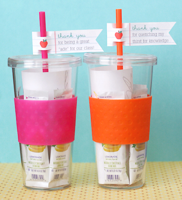 DIY Teacher Gifts - Sweet Lemonade Teacher Gift - Cheap and Easy Presents and DIY Gift Ideas for Teachers at Christmas, End of Year, First Day and Birthday - Teacher Appreciation Gifts and Crafts - Cute Mason Jar Ideas and Thoughtful, Unique Gifts from Kids http://diyjoy.com/diy-teacher-gifts