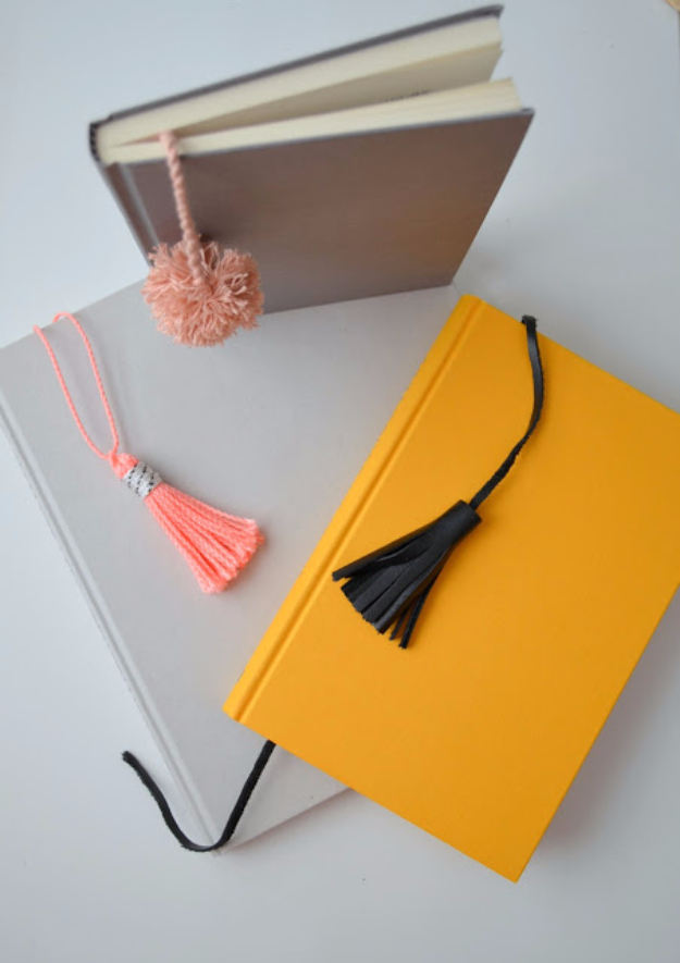 DIY Office Gifts - Easy DIY Gift for the Office - Tassel And Pom Pom Notebooks