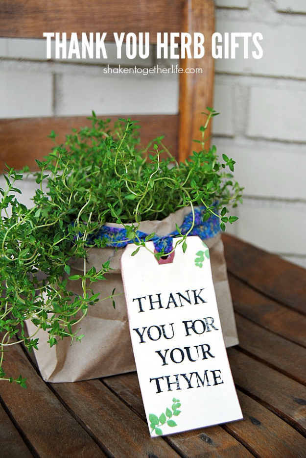 DIY Gift for the Office - Thank You Herb Gifts - DIY Gift Ideas for Your Boss and Coworkers - Cheap and Quick Presents to Make for Office Parties, Secret Santa Gifts - Cool Mason Jar Ideas, Creative Gift Baskets and Easy Office Christmas Presents http://diyjoy.com/diy-gifts-office
