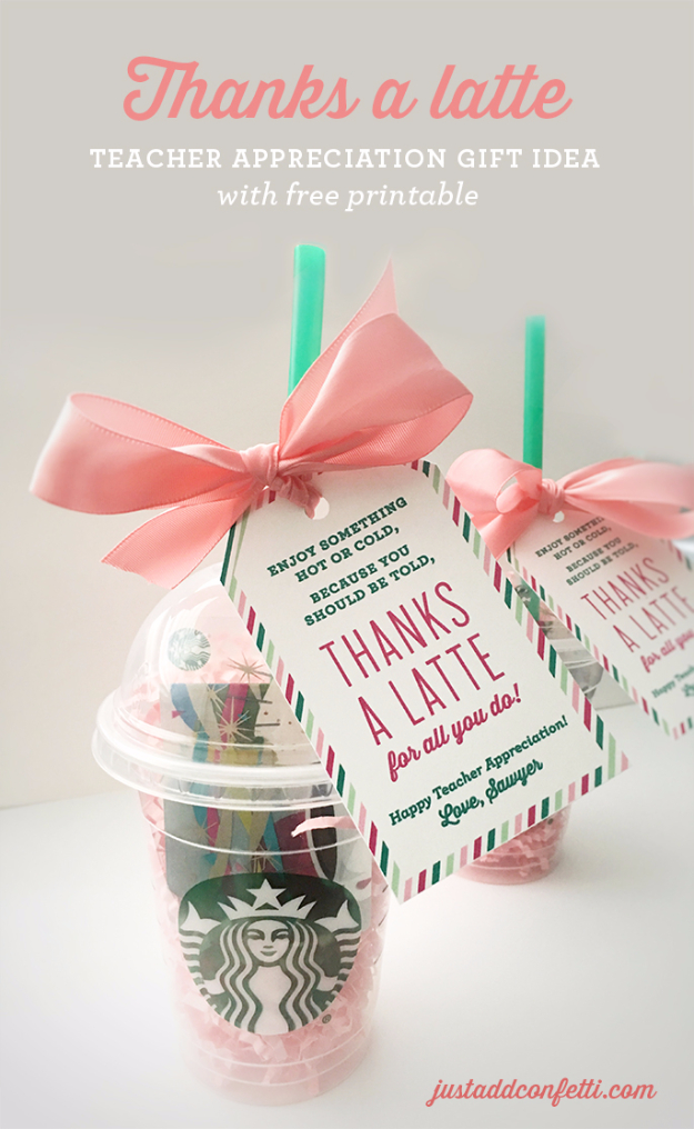 DIY Teacher Gifts - Thanks A Latte coffee mug Cheap and Easy Presents and DIY Gift Ideas for Teachers at Christmas, End of Year, First Day and Birthday - Teacher Appreciation Gifts and Crafts - Cute Mason Jar Ideas and Thoughtful, Unique Gifts from Kids