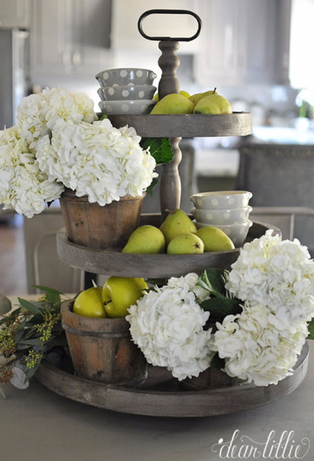 DIY Farmhouse Style Decor Ideas for the Kitchen - Three Tiered Tray Wooden Centerpiece - Rustic Farm House Ideas for Furniture, Paint Colors, Farm House Decoration for Home Decor in The Kitchen - Wall Art, Rugs, Countertops, Lights and Kitchen Accessories #farmhouse #diydecor