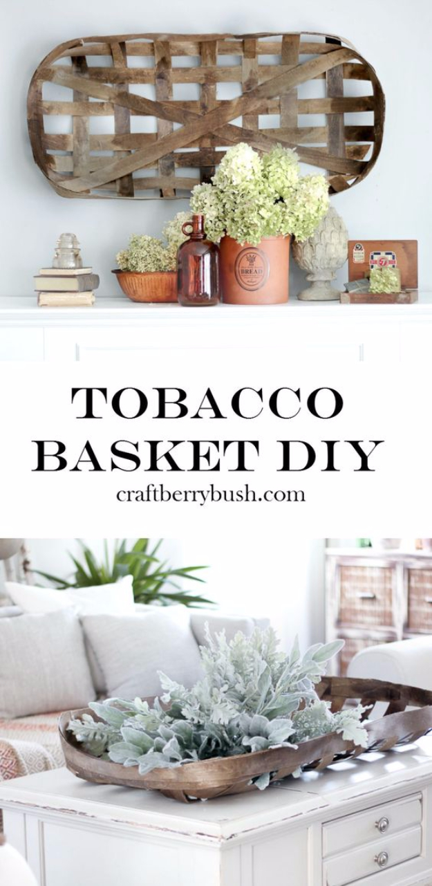 Creative Crafts Made With Baskets - Tobacco Basket DIY - DIY Storage and Organizing Ideas, Gift Basket Ideas, Best DIY Christmas Presents and Holiday Gifts, Room and Home Decor with Step by Step Tutorials - Easy DIY Ideas and Dollar Store Crafts #crafts #diy