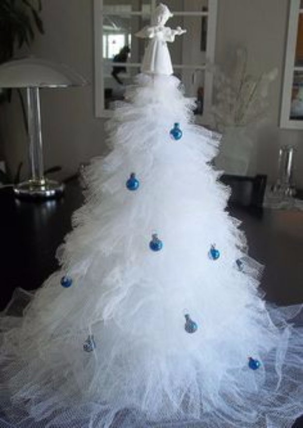 Best DIY Ideas for Your Christmas Tree - Tulle Christmas Tree - Cool Handmade Ornaments, DIY Decorating Ideas and Ornament Tutorials - Cheap Christmas Home Decor - Xmas Crafts #christmas #diy #crafts