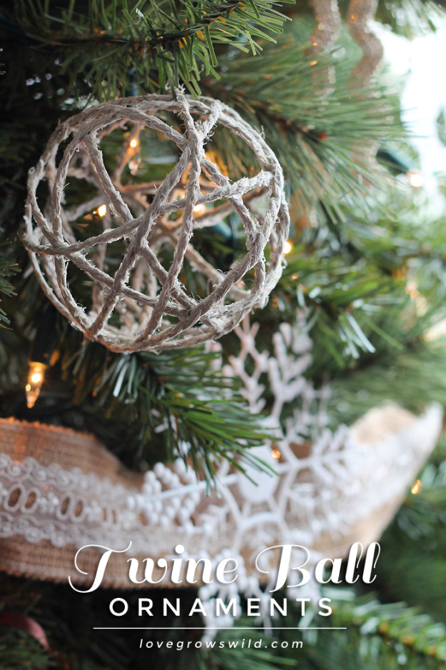 Best DIY Ornaments for Your Tree - Best DIY Ornament Ideas for Your Christmas Tree - Twine Ball Ornaments - Cool Handmade Ornaments, DIY Decorating Ideas and Ornament Tutorials - Creative Ways To Decorate Trees on A Budget - Cheap Rustic Decor, Easy Step by Step Tutorials - Holiday Crafts for Kids and Gifts To Make For Friends and Family