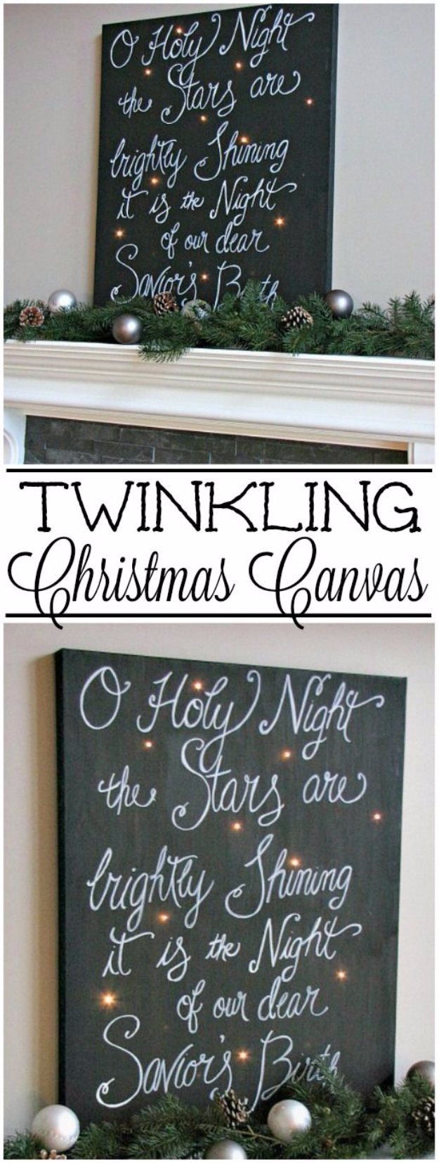 Cool Ways To Use Christmas Lights - Twinkling Christmas Canvas Art - Best Easy DIY Ideas for String Lights for Room Decoration, Home Decor and Creative DIY Bedroom Lighting #diy #christmas #homedecor