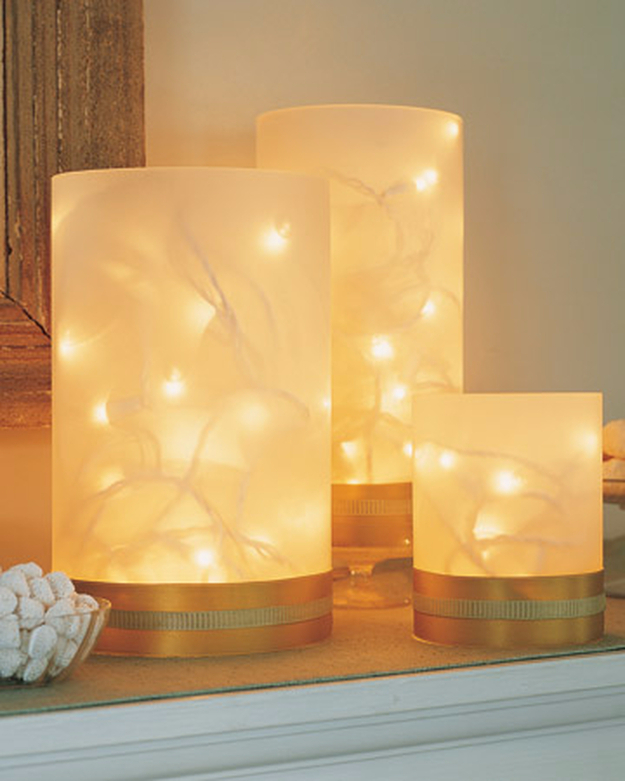 Cool Ways To Use Christmas Lights - Twinkling Vases - Best Easy DIY Ideas for String Lights for Room Decoration, Home Decor and Creative DIY Bedroom Lighting #diy #christmas #homedecor