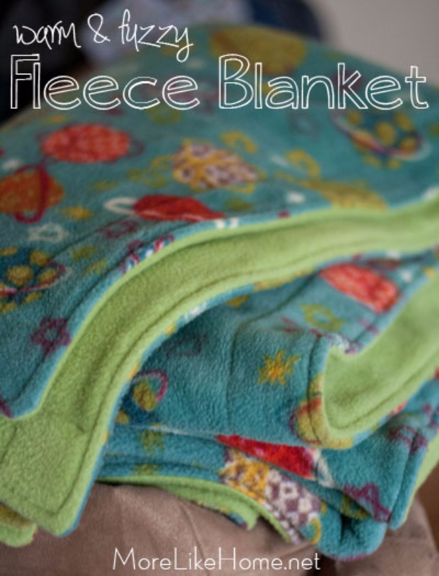 DIY Blankets and Throws - Warm And Fuzzy Fleece Blanket - How To Make Easy Home Decor and Warm Covers for Women, Kids, Teens and Adults - Fleece, Knit, No Sew and Easy Projects to Make for Bed and Sofa - Creative Blanket Sewing Projects and Crafts http://diyjoy.com/diy-blankets-throws