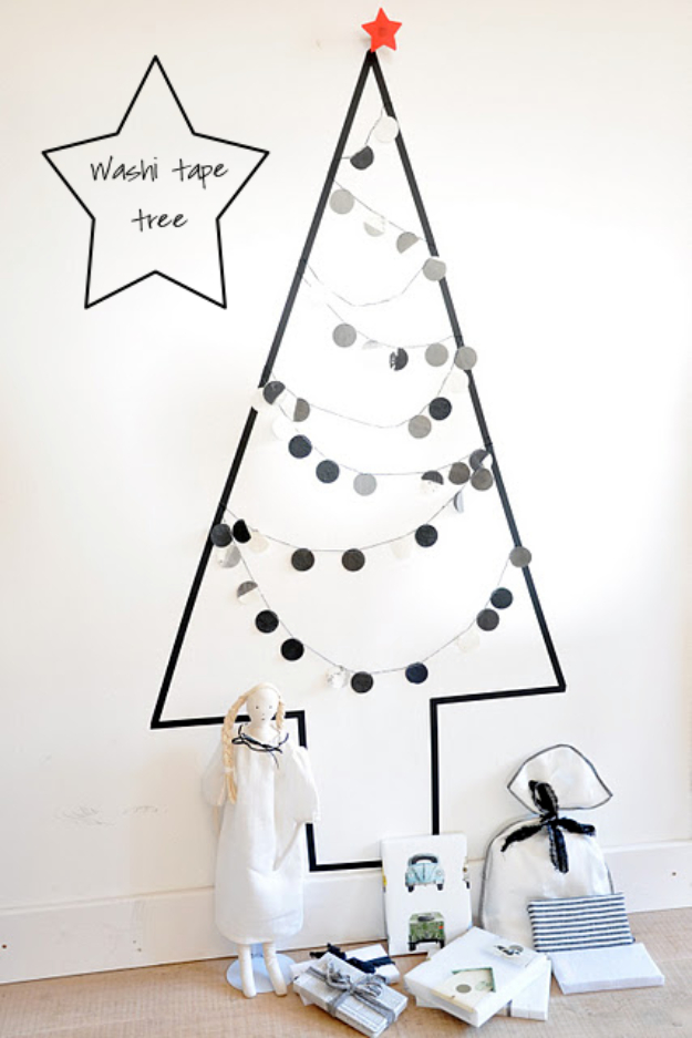 Best DIY Ideas for Your Christmas Tree - Washi Tape Tree - Cool Handmade Ornaments, DIY Decorating Ideas and Ornament Tutorials - Creative Ways To Decorate Trees on A Budget - Cheap Rustic Decor, Easy Step by Step Tutorials - Holiday Crafts for Kids and Gifts To Make For Friends and Family http://diyjoy.com/diy-ideas-christmas-tree
