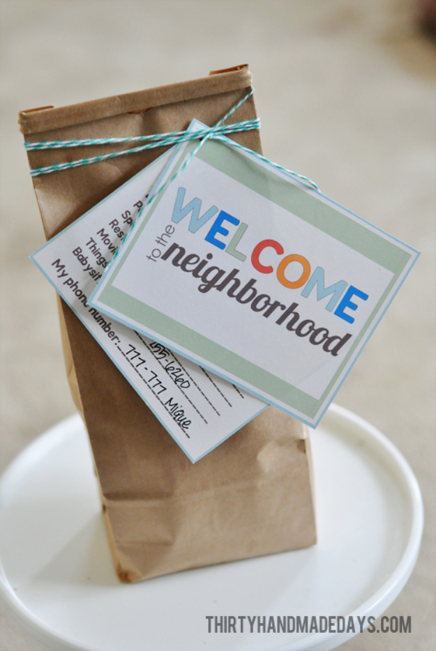 DIY Housewarming Gifts - Welcome To The Neighborhood Gift - Best Do It Yourself Gift Ideas for Friends With A New House, Home or Apartment - Creative, Cheap and Quick Crafts and DIY Ideas for Housewarming Presents - Mason Jar Gifts, Baskets, Gifts for Women and Men #diygifts #housewarming #diyideas #cheapgifts