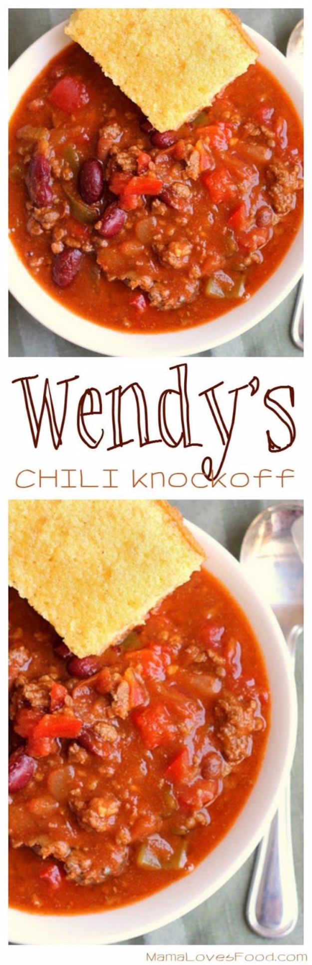 Best Copycat Recipes From Top Restaurants - Wendy's Chili Knock Off - Awesome Recipe Knockoffs and Recipe Ideas from Chipotle Restaurant, Starbucks, Olive Garden, Cinabbon, Cracker Barrel, Taco Bell, Cheesecake Factory, KFC, Mc Donalds, Red Lobster, Panda Express #recipes #copycat #dinnerideas