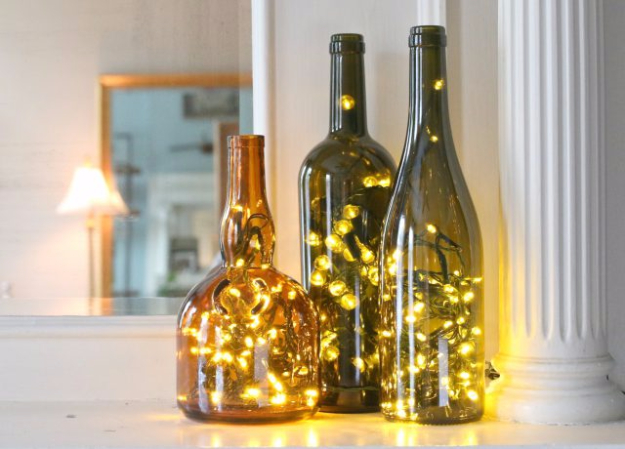 Cool Ways To Use Christmas Lights - Wine Bottle Christmas Lights - Best Easy DIY Ideas for String Lights for Room Decoration, Home Decor and Creative DIY Bedroom Lighting #diy #christmas #homedecor