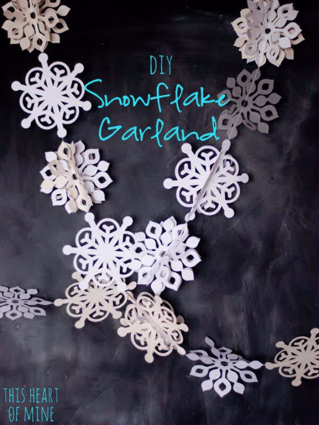 Best DIY Snowflake Decorations, Ornaments and Crafts - Winter Wonder Snowflake Garland - Paper Crafts with Snowflakes, Pipe Cleaner Projects, Mason Jars and Dollar Store Ideas - Easy DIY Ideas to Decorate for Winter#winter #crafts #diy