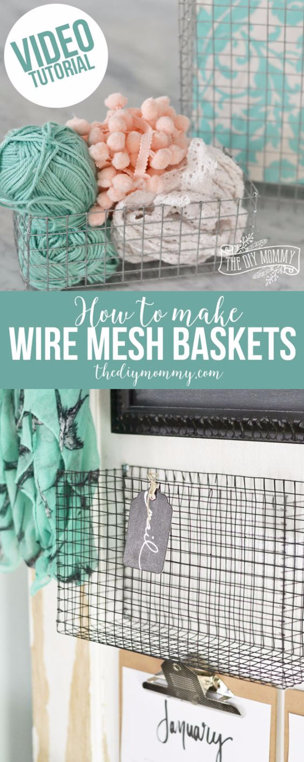 Creative Crafts Made With Baskets - Wire Mesh Baskets - DIY Storage and Organizing Ideas, Gift Basket Ideas, Best DIY Christmas Presents and Holiday Gifts, Room and Home Decor with Step by Step Tutorials - Easy DIY Ideas and Dollar Store Crafts #crafts #diy