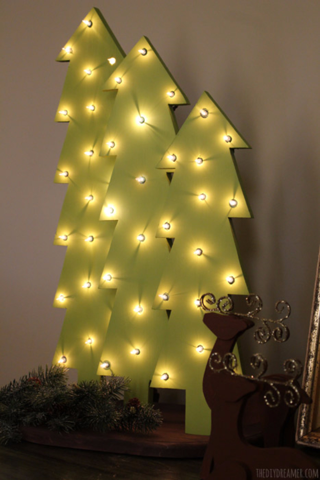 Cool Ways To Use Christmas Lights - Wooden Christmas Tree With Lights - Best Easy DIY Ideas for String Lights for Room Decoration, Home Decor and Creative DIY Bedroom Lighting #diy #christmas #homedecor