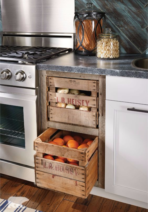 DIY Farmhouse Style Decor Ideas for the Kitchen - Wooden Crate Kitchen Storage - Rustic Farm House Ideas for Furniture, Paint Colors, Farm House Decoration for Home Decor in The Kitchen - Wall Art, Rugs, Countertops, Lights and Kitchen Accessories #farmhouse #diydecor