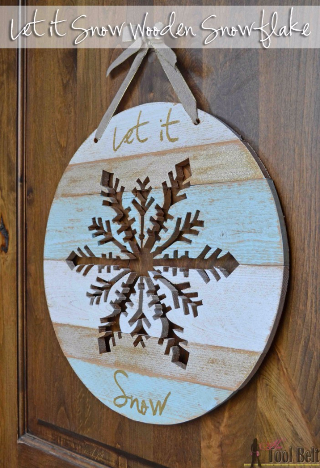 Best DIY Snowflake Decorations, Ornaments and Crafts - Wooden Snowflake Door Hanger - Paper Crafts with Snowflakes, Pipe Cleaner Projects, Mason Jars and Dollar Store Ideas - Easy DIY Ideas to Decorate for Winter#winter #crafts #diy