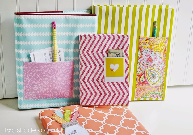 Cool Things to Make With Leftover Wrapping Paper - Wrapping Paper Book Covers - Easy Crafts, Fun DIY Projects, Gifts and DIY Home Decor Ideas - Don't Trash The Christmas Wrapping Paper and Learn How To Make These Awesome Ideas Instead - Step by Step Tutorials With Instructions