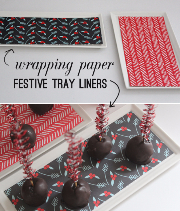 Cool Things to Make With Leftover Wrapping Paper - Wrapping Paper Festive Tray Liners - Easy Crafts, Fun DIY Projects, Gifts and DIY Home Decor Ideas - Don't Trash The Christmas Wrapping Paper and Learn How To Make These Awesome Ideas Instead - Step by Step Tutorials With Instructions http://diyjoy.com/diy-projects-leftover-wrapping-paper