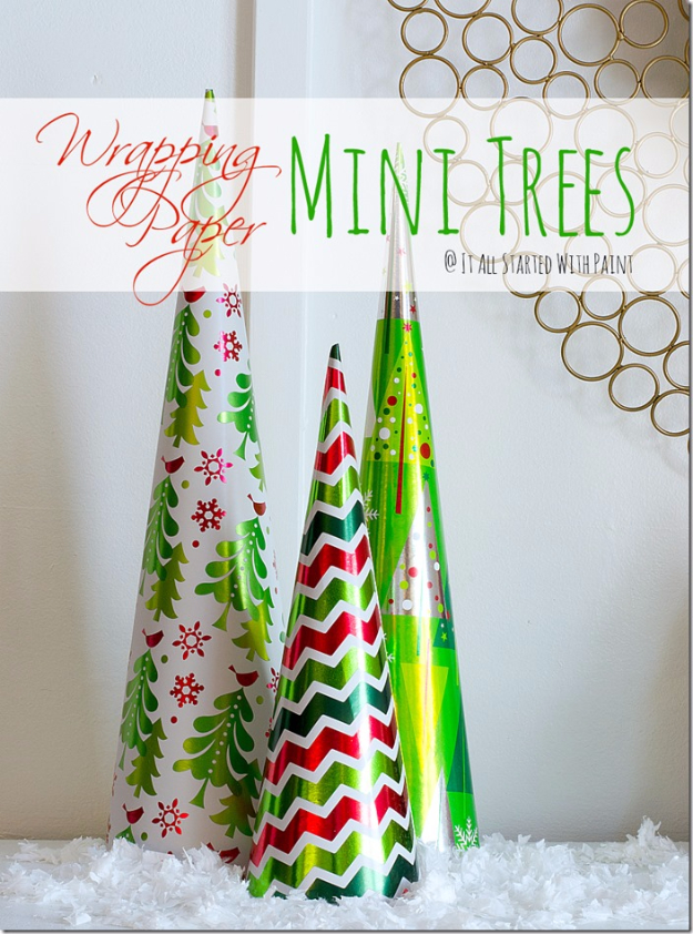 Cool Things to Make With Leftover Wrapping Paper - Wrapping Paper Mini Trees - Easy Crafts, Fun DIY Projects, Gifts and DIY Home Decor Ideas - Don't Trash The Christmas Wrapping Paper and Learn How To Make These Awesome Ideas Instead - Step by Step Tutorials With Instructions http://diyjoy.com/diy-projects-leftover-wrapping-paper