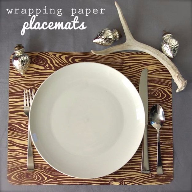Cool Things to Make With Leftover Wrapping Paper - Wrapping Paper Placemats - Easy Crafts, Fun DIY Projects, Gifts and DIY Home Decor Ideas - Don't Trash The Christmas Wrapping Paper and Learn How To Make These Awesome Ideas Instead - Step by Step Tutorials With Instructions http://diyjoy.com/diy-projects-leftover-wrapping-paper