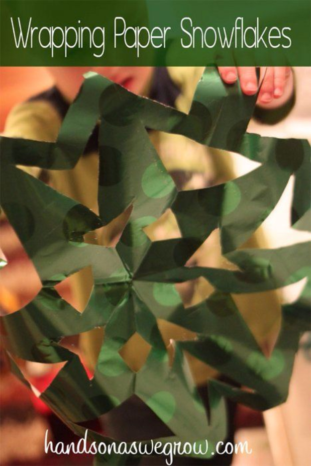 Cool Things to Make With Leftover Wrapping Paper - Wrapping Paper Snowflakes - Easy Crafts, Fun DIY Projects, Gifts and DIY Home Decor Ideas - Don't Trash The Christmas Wrapping Paper and Learn How To Make These Awesome Ideas Instead - Step by Step Tutorials With Instructions