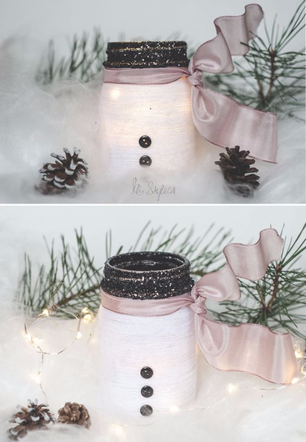 DIY Christmas Luminaries and Home Decor for The Holidays - Yarn Snowman Mason Jar Luminary - Cool Candle Holders, Tea Lights, Holiday Gift Ideas, Christmas Crafts for Kids #diy #luminaries #christmas