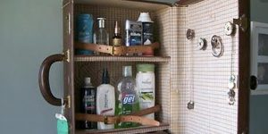 He Brilliantly Turns An Old Suitcase Into A Medicine Cabinet!