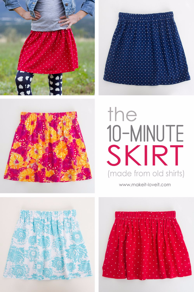 Best Sewing Projects to Make For Girls - 10 Minute Skirt - Creative Sewing Tutorials for Baby Kids and Teens - Free Patterns and Step by Step Tutorials for Dresses, Blouses, Shirts, Pants, Hats and Bags #sewing #sewingideas