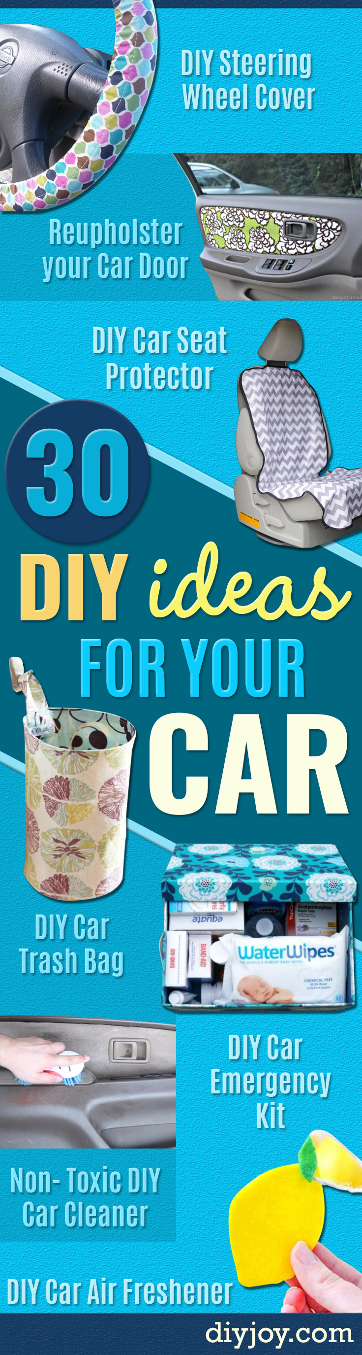 DIY Car Accessories and Ideas for Cars - Interior and Exterior, Seats, Mirror, Seat Covers, Storage, Carpet and Window Cleaners and Products - Decor, Keys and Iphone and Tablet Holders - DIY Projects and Crafts for Women and Men