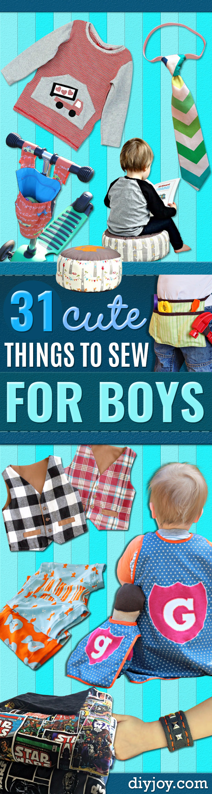 Sewing Projects to Make For Boys - Easy Sewing Tutorials for Baby Kids - DIY Baby Shower Presents - Free Patterns and Step by Step Tutorials for Clothes, Jackets, Jeans, Shirts, Pants, Hats, Backpacks and Bags - Quick Things to Sew for Toddlers Gift #sewing #baby #boys