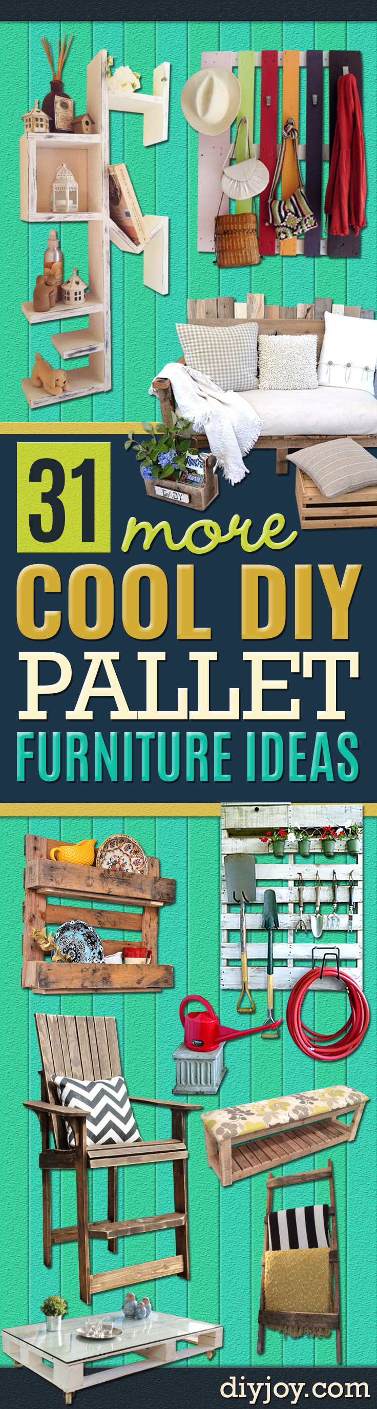 Best DIY Pallet Furniture Ideas - Cool Pallet Tables, Sofas, End Tables, Coffee Table, Bookcases, Wine Rack, Beds and Shelves - Rustic Wooden Pallet Furniture Made Easy With Step by Step Tutorials - Quick DIY Projects and Crafts by DIY Joy http://diyjoy.com/best-diy-pallet-furniture-ideas