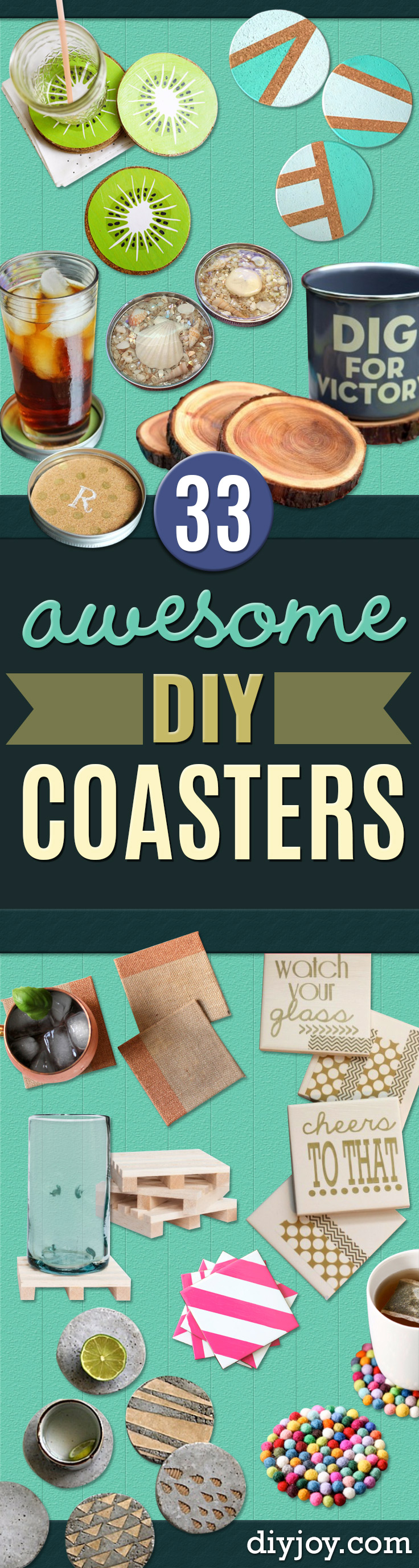 DIY Coasters - Best Quick DIY Gifts and Home Decor - Easy Step by Step Tutorials for DIY Coaster Projects - Mod Podge, Tile, Painted, Photo and Sewing Projects - Cool Christmas Presents for Him and Her - DIY Projects and Crafts by DIY Joy http://diyjoy.com/diy-coasters