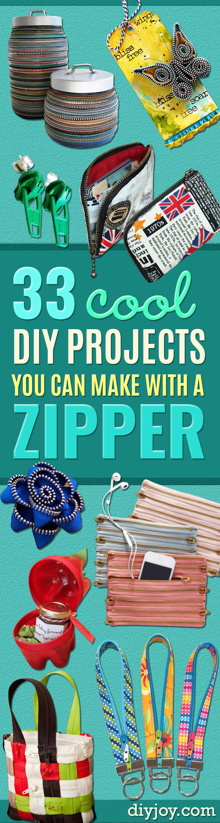 Creative DIY Projects With Zippers - Easy   Crafts and Fashion Ideas With A Zipper - Jewelry, Home Decor,   School Supplies and DIY Gift Ideas - Quick DIYs for Fun Weekend   Projects http://diyjoy.com/diy-projects-zippers