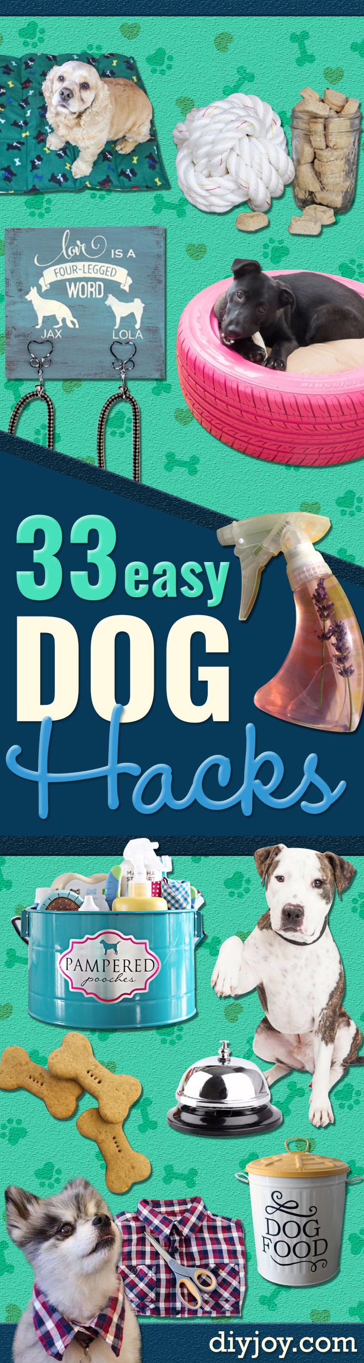 DIY Dog Hacks - Training Tips, Ideas for Dog Beds and Toys, Homemade Remedies for Fleas and Scratching - Do It Yourself Dog Treat Recips, Food and Gear for Your Pet #diy #dogs #crafts