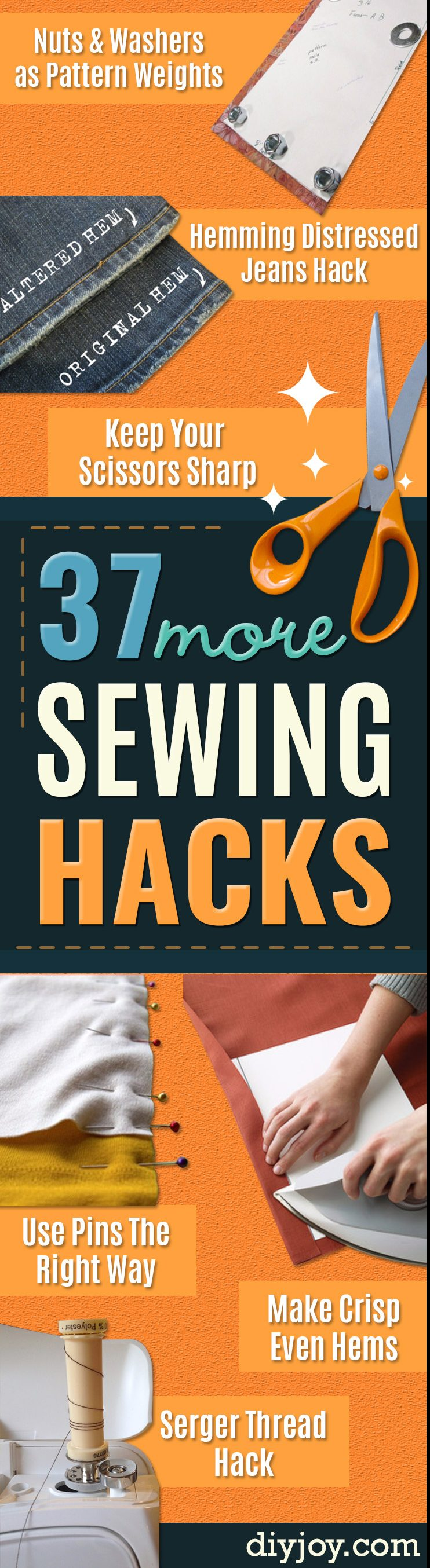 Sewing Tips and Trick - Easy Hacks for Sewing Shortcuts - Best Tips and Tricks for Sewing Patterns, Projects, Machines, Hand Sewn Items. Clever Ideas for Beginners and Even Experts #sewing #hacks