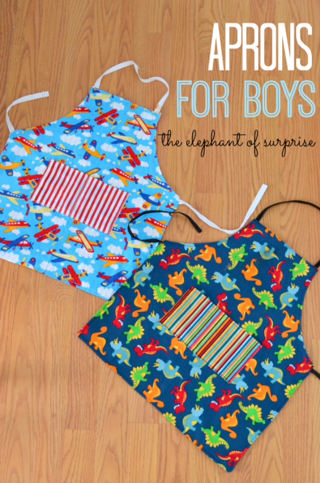 Best Sewing Projects to Make For Boys - Aprons For Boys - Creative Sewing Project Idea for Kids and Toddlers, DIY Baby Gifts - Free Pattern and Step by Step Tutorial for Aprons, Jeans, Shirts, Pants, Hats, Backpacks and Bags - Easy DIY Projects #sewing #kids