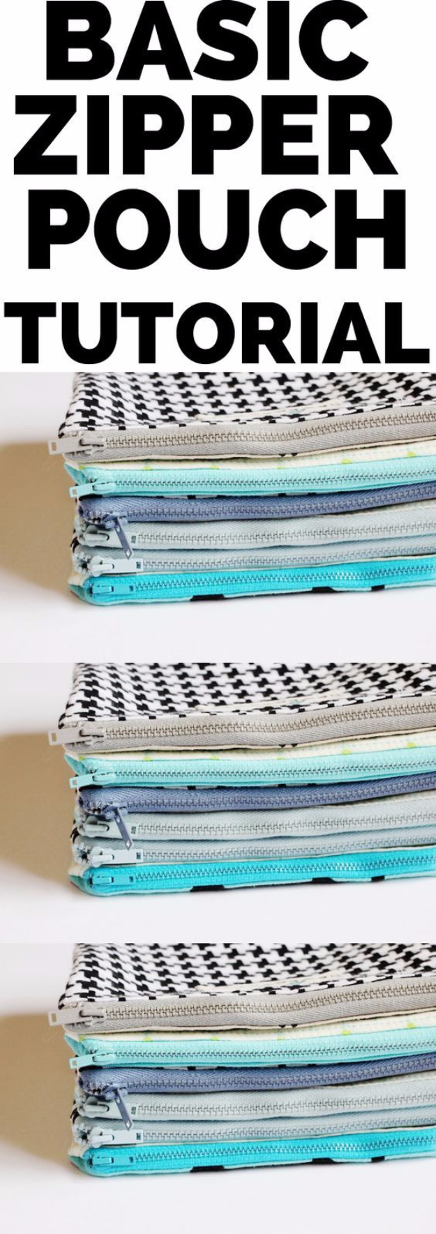 Creative DIY Projects With Zippers - Basic Zipper Pouch - Easy Crafts and Fashion Ideas With A Zipper - Jewelry, Home Decor, School Supplies and DIY Gift Ideas - Quick DIYs for Fun Weekend Projects http://diyjoy.com/diy-projects-zippers
