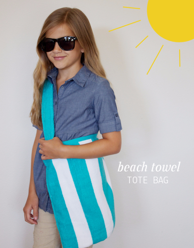 Best Sewing Projects to Make For Girls - Beach Towel Tote Bag - Creative Sewing Tutorials for Baby Kids and Teens - Free Patterns and Step by Step Tutorials for Dresses, Blouses, Shirts, Pants, Hats and Bags - Easy DIY Projects and Quick Crafts Ideas http://diyjoy.com/cute-sewing-projects-for-girls