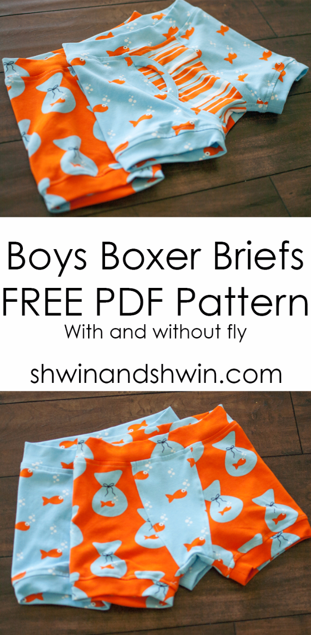 Best Sewing Projects to Make For Boys - Boys Boxer Briefs - Creative Sewing Tutorials for Baby Kids and Teens - Free Patterns and Step by Step Tutorials for Jackets, Jeans, Shirts, Pants, Hats, Backpacks and Bags - Easy DIY Projects and Quick Crafts Ideas #sewing #kids #boys #sewingprojects