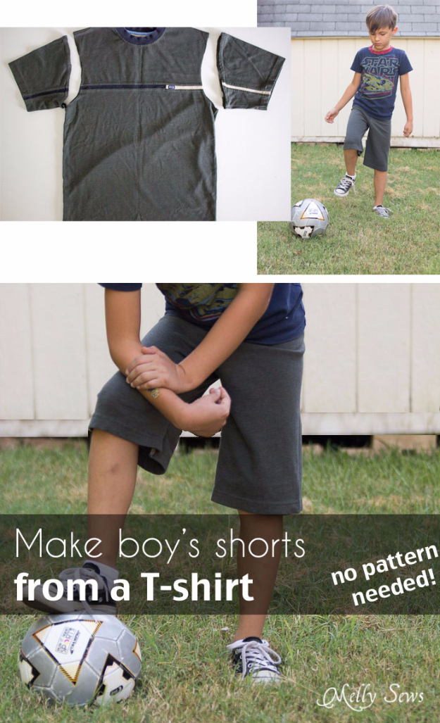 Best Sewing Projects to Make For Boys - Boys Short From A T-Shirt - Creative Sewing Tutorials for Baby Kids and Teens - Free Patterns and Step by Step Tutorials for Jackets, Jeans, Shirts, Pants, Hats, Backpacks and Bags - Easy DIY Projects and Quick Crafts Ideas #sewing #kids #boys #sewingprojects