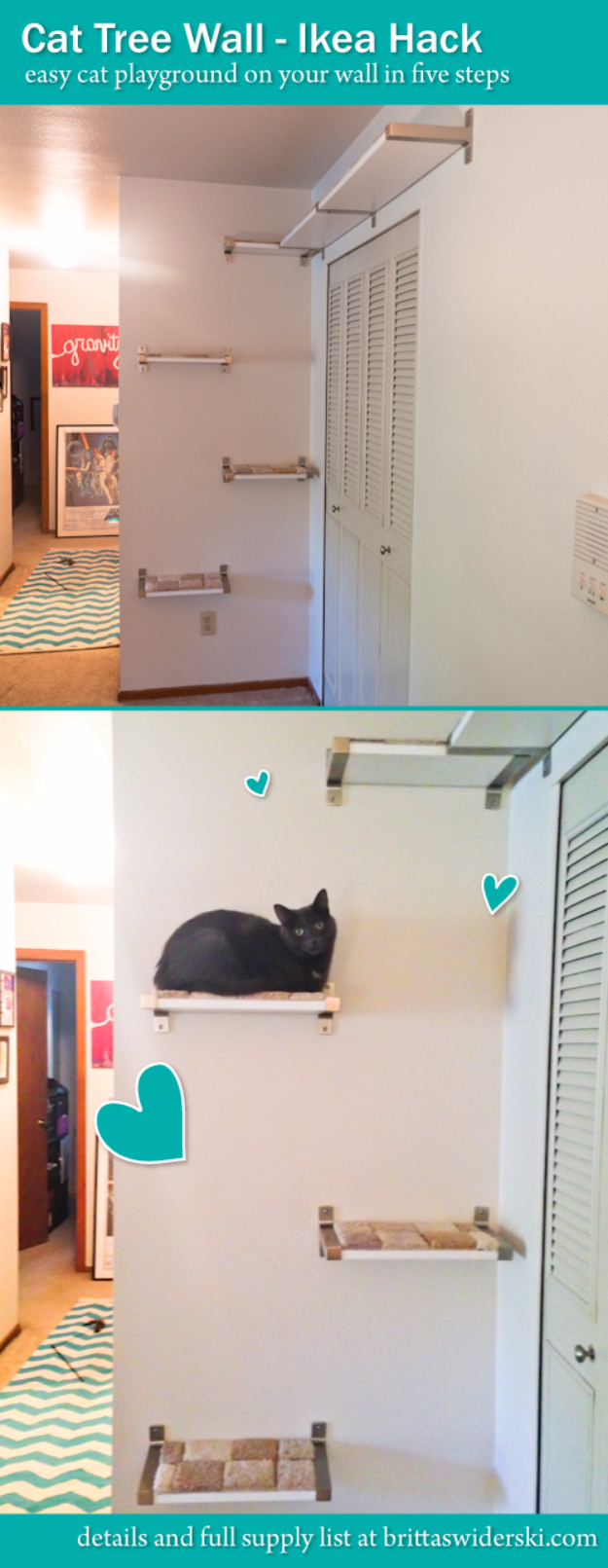 DIY Cat Hacks - Cat Tree Wall Ikea Hack - Tips and Tricks Ideas for Cat Beds and Toys, Homemade Remedies for Fleas and Scratching - Do It Yourself Cat Treat Recips, Food and Gear for Your Pet - Cool Gifts for Cats #cathacks #cats #pets